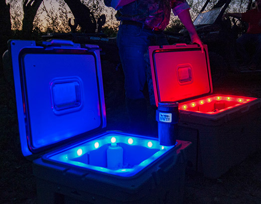 Two coolers illuminated from the inside.